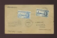 SEYCHELLES 1946 VICTORY FIRST DAY COVER REGISTERED HANDSTAMP