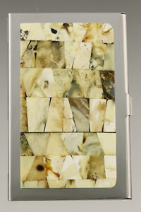 Genuine White BALTIC AMBER Mosaic Credit/Business Card CASE Holder 181002-21