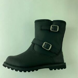 UGG Baby Boys T Harwell Moto Boots Black Wool Lined Mid-Calf Zip Up Buckle 9 New
