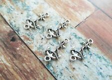 4 Anchor Charms Connectors Antiqued Silver Ocean Pendants Nautical Findings