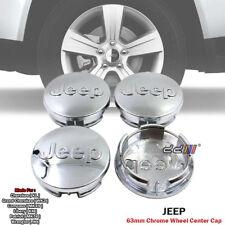 63mm Chrome Wheel Center Hub Cap Emblem Logo Set For Jeep Cherokee Wrangler