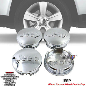 63mm Chrome Wheel Center Hub Cap Emblem Logo Set For Jeep Cherokee Wrangler