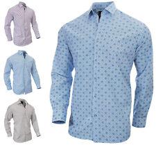 RICHBERRY Men's Printed Pattern Floral Shirt Long sleeve Regular Fit