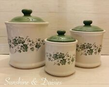 """6pc Jay Imports Corelle Stoneware """"CALLAWAY"""" Green Ivy Covered Canister Set EUC"""