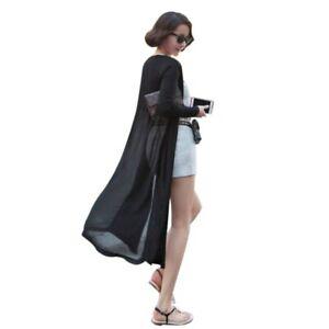 Ladies Long Sleeve Floaty Open Front Chiffon Maxi Cardigan Jacket Coat Plus Size
