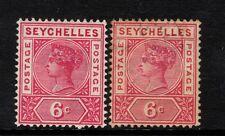 "Carmín Seychelles: 1897-00-QV - 6c-SG29a reparadas ""S"" - misioneros & usados para comparar"