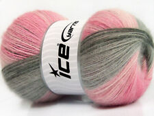 Lot of 4 x 100gr Skeins ICE ANGORA BATIK (20% Angora 20% Wool) Yarn Pink Shad...
