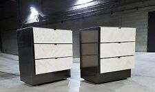 Pair of Ello Chevron Patterned Travertine Nightstands *(ASK FOR SHIPPING QUOTE)*