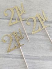 12 x 21st gold glitter cupcake toppers 16 21 18 30 40 50 60 70 80 90 birthday