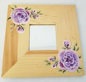 Wood Wall Mirror Hand Painted Purple Lavender Roses by Lia