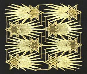 alter Bogen Dresdner Pappe Kometen Sternschnuppe gold geprägt - DIE CUT SCRAPS