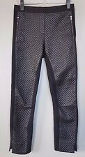 BCBG MAXAZRIA Black Quilted Faux Leather Front Ponte Knit Leggings sz S