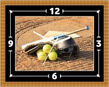 Reloj De Pared bate de béisbol & bola Presente Navidad Cumpleaños (personalizable)