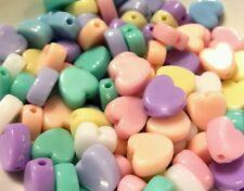 100 pcs mixed candy pastel colour heart shaped plastic beads 8x9mm kawaii