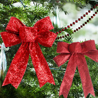 Christmas Tree Bow Decor Baubles Xmas Party Garden Bows Ornament 1/12 pcs NEJ