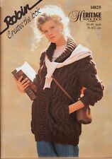 "Robin Knitting Pattern Jacket Collar Oversize Ladies 30-40"" Chunky 14825 Vintage"