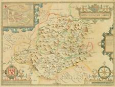 1676 Original Antique Map - WALES MONTGOMERYSHIRE by John Speed Bassett Chiswell