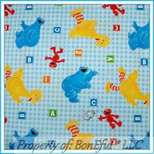 BonEful FABRIC FQ Cotton Quilt Baby Blue Gingham Lg Big Bird ELMO Cookie Monster