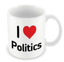 I Love POLITICS Mug Heart Gift Idea Christmas Funny Coffee cup question time