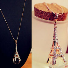 KD_ Women's Eiffel Tower Transparent Rhinestone Ball Pendant Long Necklace Uti