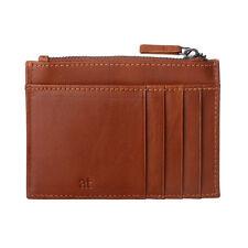 ANTICA TOSCANA Porta carte di credito uomo sottile Slim Pelle Terracotta con Zip