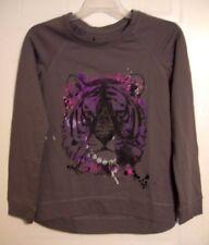 Hybrid Apparel Woman's Gray Solo Tiger Print Sweatshirt - Size: M