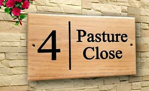 Personalised Oak House Number  Name Sign Carved  Engraved Outdoor Wooden Plaque