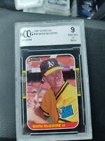 1987 Donruss Rated Rookie #46 Mark McGwire, Oakland A's, Beckett BCCG 9 NM