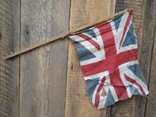 Antique Vintage Union Jack Flag Wooden Stick Village Fete Garden Celebration H