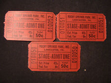 Lot of 3 Stage tickets, Rocky Springs Park, Lancaster PA