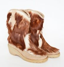Fur Snow Boots - Vintage 1980s - Brown Western Style  UK 6 / 39