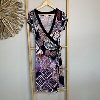 Striking Size 12 M Paisley Cross Over Dress Purple Stretch Short Sleeve Boho