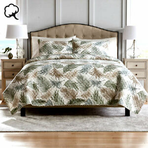 100% Cotton Lightly Quilted Coverlet Set Aurora Queen