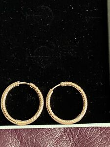 Pandora Moments Rose Gold Charm Hoop Earrings New