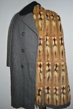 Luxury Wool Loden Coat HAMSTER FUR LINED Astrakhan Persian Lambskin women 8 S M