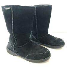 BEARPAW Womens10 Meadow 605W Boots Black Suede Upper Sheepskin Wool Lining
