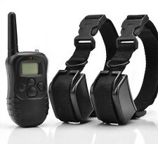 Rechargeable Waterproof 300M Remote Anti-barking Training Collar for 2 Dogs GB