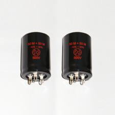 2x JJ Elko 50+50uF 500V für Röhrenverstärker / for tube amps ( capacitor 50 µF )