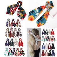 Boho Women Girl Scrunchie Ponytail Hair Rope Tie Bands Satin Ribbon Elastic AU