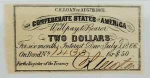 Confederate States of America Bond Coupon $2 Bond for $50 1861 PMG Choice XF45