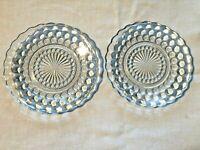 2 Vintage Blue Bubble Depression Glass  6.75 inch Pie Plates