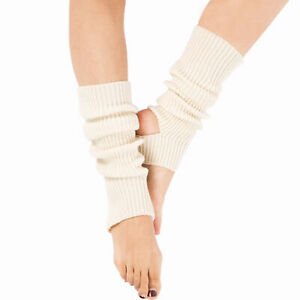 Women Girl Knitted Warm Knee High Stirrup  Sport Dance Leg Warmers Socks Glitzy