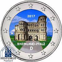 Deutschland 2 Euro Münze Rheinland Pfalz 2017 bankfrisch Porta Nigra in Farbe