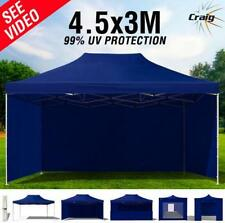 99% UV 3x4.5m Pop Up Gazebo Outdoor Folding Marquee Tent Canopy Oxford Navy Blue