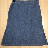 Per Una Paneled A-Line Denim Skirt Size 12 (Waist 38cm Across, Length 65cm)