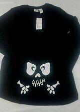 Maternity Halloween Skeleton Face Long Sleeve Graphic Tee Size XL
