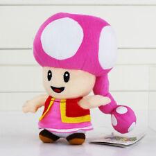 Toadette Plush Super Mario Bros Party Mushroom Pink Girl Soft Stuffed Teddy Anim