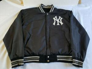 Vintage NY Yankees Logo JH Design Wool Blend Black Whit Mens 2XL Varsity Jacket