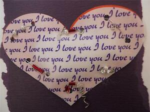 Handmade Blank Inside I Love You Puffy Heart with Wire & Beads Purple Background