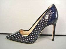 Manolo Blahnik Navy Patent Leather BB Classic PUMPS HEELS Pointy Toe 37/7